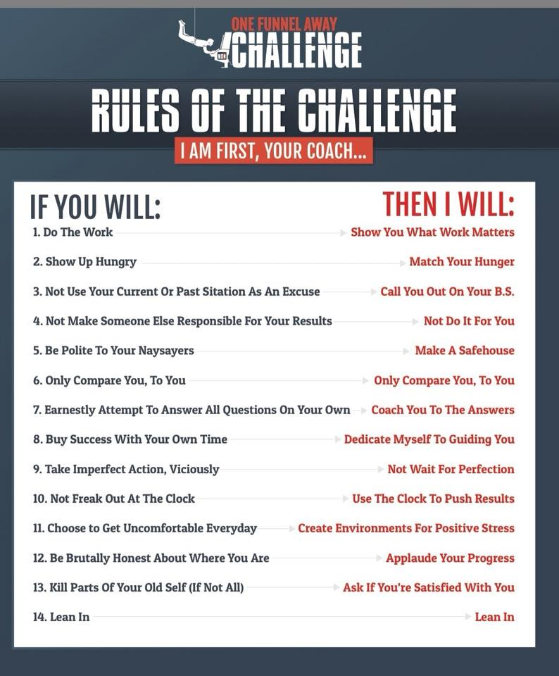one funnel away 30 day challenge rules